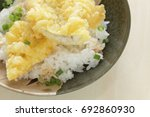 Small photo of Japanese food, Anago Tempura on rice Sea Eel don