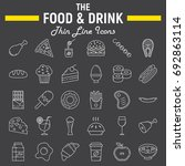 food and drink line icon set ... | Shutterstock .eps vector #692863114