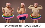 collage fat funny man in a... | Shutterstock . vector #692868250