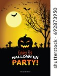 halloween invitation. vector... | Shutterstock .eps vector #692873950
