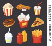 collection of fast food... | Shutterstock . vector #692875588