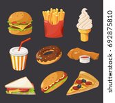fast food illustration in... | Shutterstock . vector #692875810