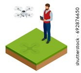isometric man with drone... | Shutterstock .eps vector #692876650