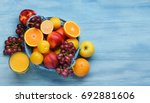 Variety Of Fruits On The Blue...