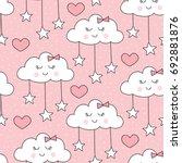 seamless smiling sleeping... | Shutterstock .eps vector #692881876