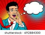 wow pop art male face. young... | Shutterstock .eps vector #692884300