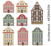 Old European Houses. Colored...