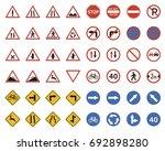 set of traffic road sign... | Shutterstock .eps vector #692898280