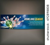 bowling horizontal banner with... | Shutterstock .eps vector #692898808