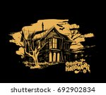 halloween   scary farmhouse... | Shutterstock .eps vector #692902834