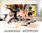 group of flexible people... | Shutterstock . vector #692909254