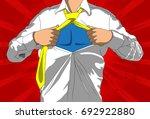 pop art businessman acting like ... | Shutterstock .eps vector #692922880