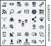 Vector Illustration Set Of Simple Web Icons. Elements Spreading, Server, Wifi And Other Synonyms Telephone, Letter And Contact.