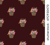 Seamless Pattern. Flower Color...