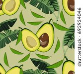 seamless pattern with avocado... | Shutterstock .eps vector #692934046