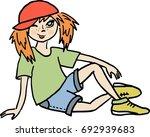funny red haired little girl... | Shutterstock .eps vector #692939683