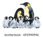 emperor penguins with children...   Shutterstock . vector #692940946