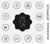 set of 12 child outline icons... | Shutterstock .eps vector #692944114