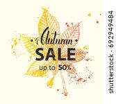 vector autumn sale banner. up... | Shutterstock .eps vector #692949484