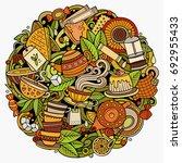 cartoon vector doodles tea... | Shutterstock .eps vector #692955433