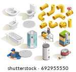 colorful plumber isometric... | Shutterstock .eps vector #692955550