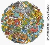 cartoon vector doodles travel... | Shutterstock .eps vector #692956300