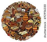 cartoon vector doodles coffee... | Shutterstock .eps vector #692956330