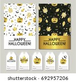 happy halloween. set of... | Shutterstock .eps vector #692957206