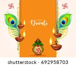 happy diwali wallpaper design... | Shutterstock .eps vector #692958703