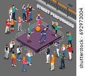 street performers isometric... | Shutterstock .eps vector #692973004