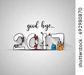 good bye 2017 lettering cartoon ... | Shutterstock .eps vector #692980870