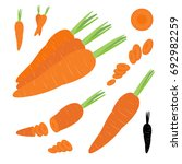 set of orange carrots symbol... | Shutterstock .eps vector #692982259