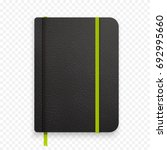 realistic black notebook with... | Shutterstock .eps vector #692995660