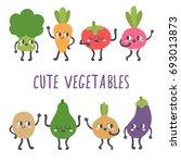 cute smiling vegetables.... | Shutterstock .eps vector #693013873