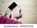 top view of women bag and lady... | Shutterstock . vector #693019144