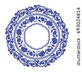 chinese porcelain round frame...   Shutterstock .eps vector #693024814