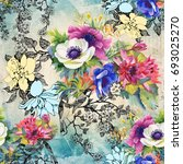 flower pattern   Shutterstock . vector #693025270
