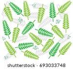 green leaf pattern on white... | Shutterstock .eps vector #693033748