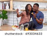 happy couple at home having... | Shutterstock . vector #693034633