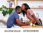 happy couple at home having... | Shutterstock . vector #693034840