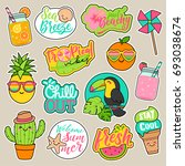 Stock vector set of girl fashion patches cute colorful cartoon badges fun stickers design vector in summer 693038674