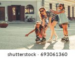 mother plays with her daughters ... | Shutterstock . vector #693061360