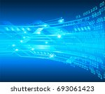 future technology  blue cyber... | Shutterstock .eps vector #693061423
