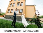 stylish happy smile bride and...   Shutterstock . vector #693062938