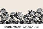 chrysanthemum vintage on brown... | Shutterstock . vector #693064213