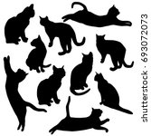 Stock vector set vector silhouette of the cat different poses black color isolated on white background 693072073