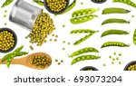 fresh and canned green pea pods ... | Shutterstock . vector #693073204
