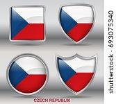 flag of czech republic in 4... | Shutterstock .eps vector #693075340