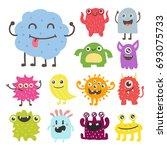 funny cartoon monster cute... | Shutterstock .eps vector #693075733