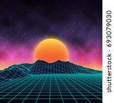 futuristic retro landscape of... | Shutterstock .eps vector #693079030